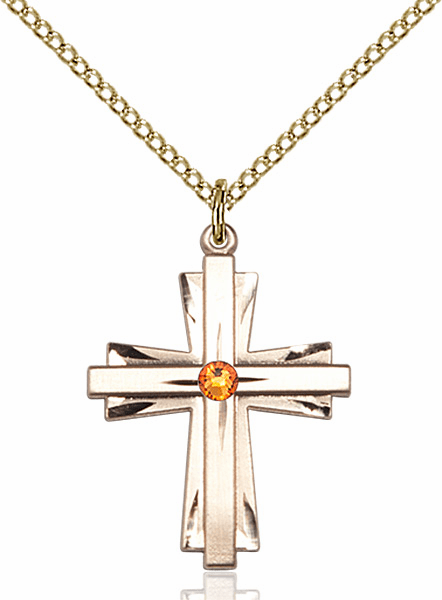 Birthstone Crystal November Topaz Double Etched 14kt Gold-filled Cross Necklace by Bliss