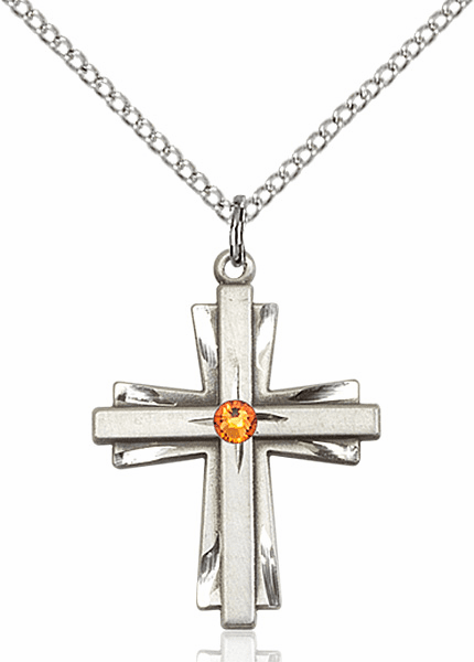 Birthstone Crystal November Topaz Double Etched Cross Necklace by Bliss