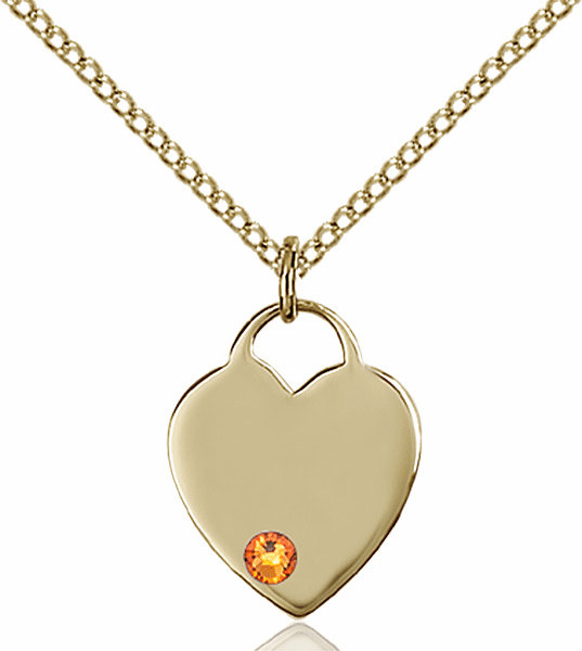 Birthstone Crystal November Topaz Heart 14kt Gold-filled Charm Necklace by Bliss