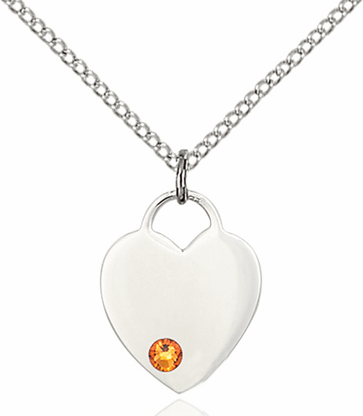 Birthstone Crystal November Topaz Heart Charm Necklace by Bliss