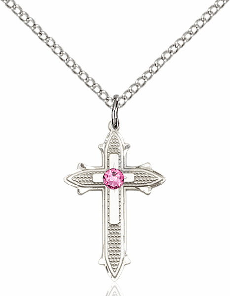 Bliss Birthstone Oct-Rose Double Detailed Cross Necklace