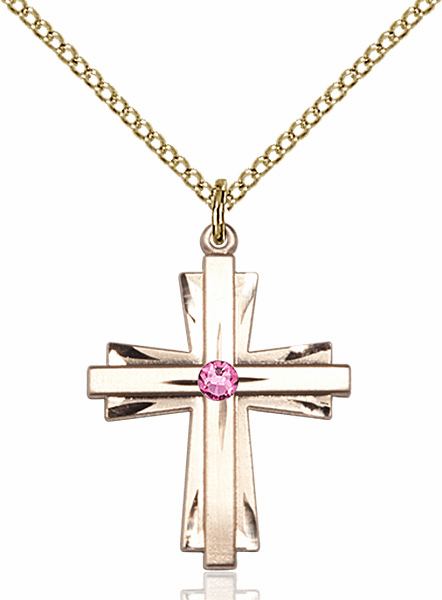 Birthstone Crystal October Rose Double Etched 14kt Gold-filled Cross Necklace by Bliss