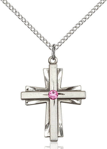 Birthstone Crystal October Rose Double Etched Cross Necklace by Bliss