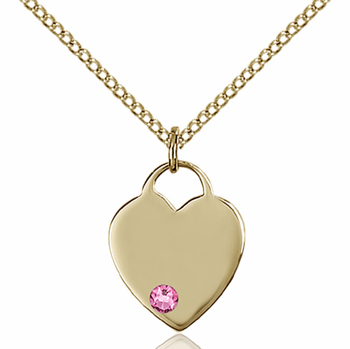 Birthstone Crystal October Rose Heart 14kt Gold-filled Charm Necklace by Bliss