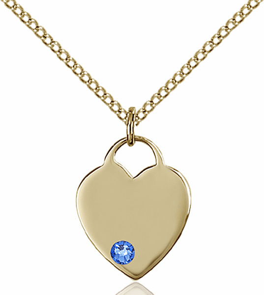 Birthstone Crystal September Sapphire Heart 14kt Gold-filled Charm Necklace by Bliss