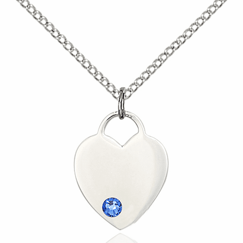 Birthstone Crystal September Sapphire Heart Charm Necklace by Bliss