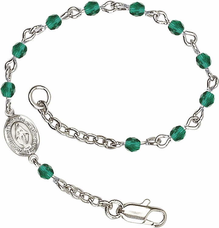 Birthstone December Zircon Beads w/Pewter Miraculous Medal Charm Bracelet by Bliss Mfg