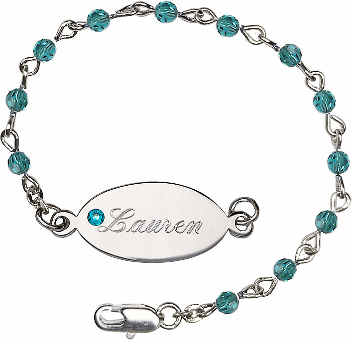 Birthstone December Zircon Beads w/Silver-plated Engravable ID Bracelet by Bliss Mfg