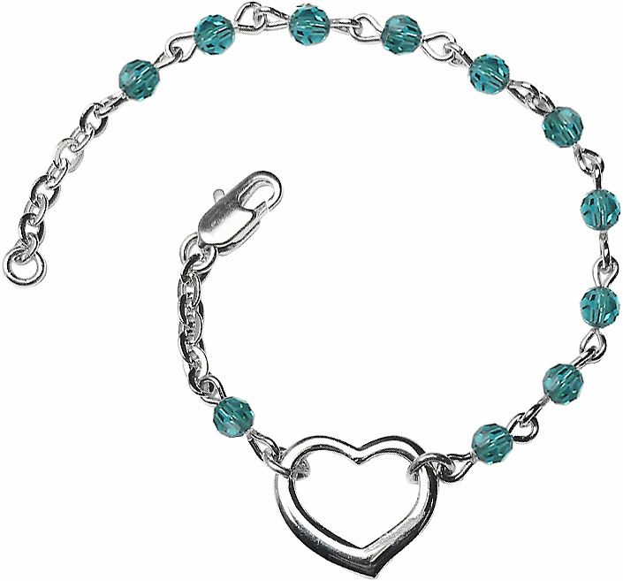 Birthstone December Zircon Beads w/Silver-plated Heart Bracelet by Bliss Mfg