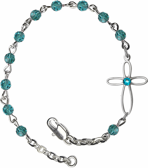 Birthstone December Zircon Beads w/Silver-plated Loop Cross Bracelet by Bliss Mfg