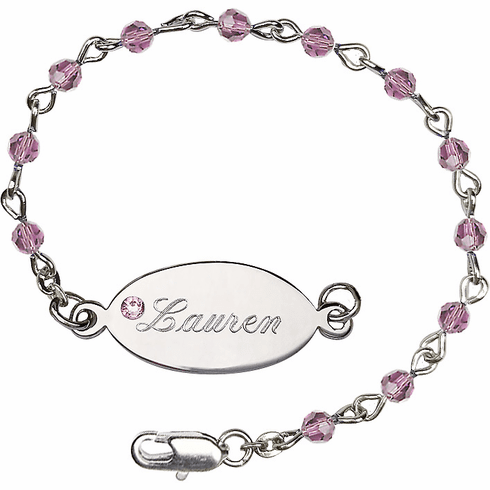 Birthstone February Amethyst Beads w/Silver-plated Engravable ID Bracelet by Bliss Mfg