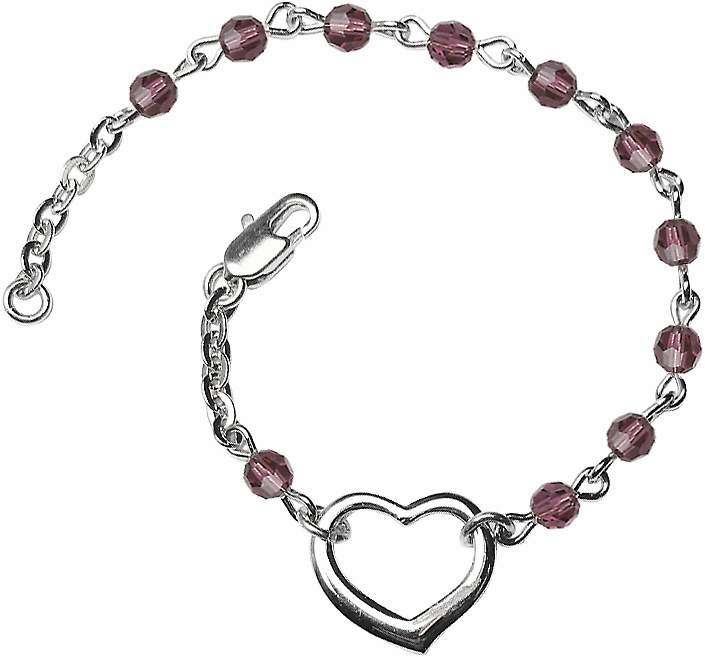 Birthstone February Amethyst Beads w/Silver-plated Heart Bracelet by Bliss Mfg