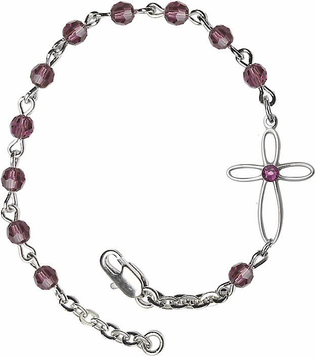 Birthstone February Amethyst Beads w/Silver-plated Loop Cross Bracelet by Bliss Mfg