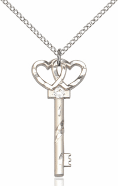 Birthstone for April Crystal Double Hearts Key Pendant Necklace by Bliss