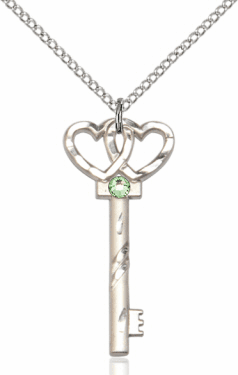 Birthstone for August Peridot Double Hearts Key Pendant Necklace by Bliss