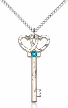 Birthstone for December Zircon Double Hearts Key Pendant Necklace by Bliss