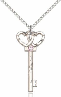 Birthstone for June Lt Amethyst Double Hearts Key Pendant Necklace by Bliss
