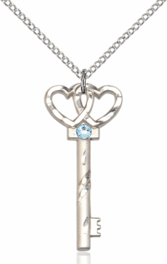 Birthstone for March Aqua Double Hearts Key Pendant Necklace by Bliss