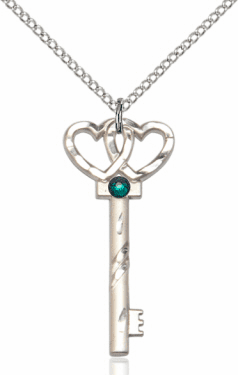 Birthstone for May Emerald Double Hearts Key Pendant Necklace by Bliss