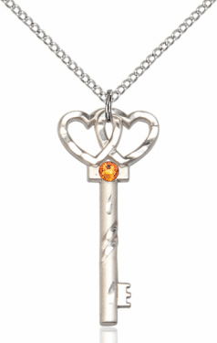 Birthstone for November Topaz Double Hearts Key Pendant Necklace by Bliss