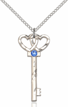 Birthstone for September Sapphire Double Hearts Key Pendant Necklace by Bliss