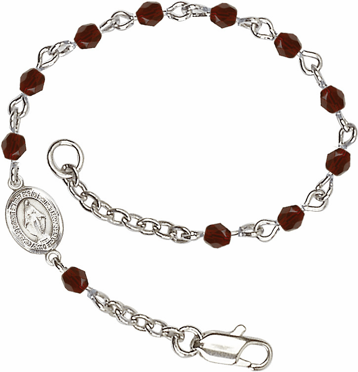 Birthstone January Garnet Beads w/Pewter Miraculous Medal Charm Bracelet by Bliss Mfg