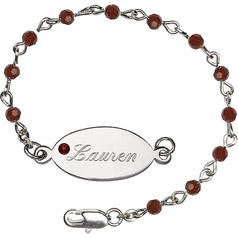Birthstone January Garnet Beads w/Silver-plated Engravable ID Bracelet by Bliss Mfg