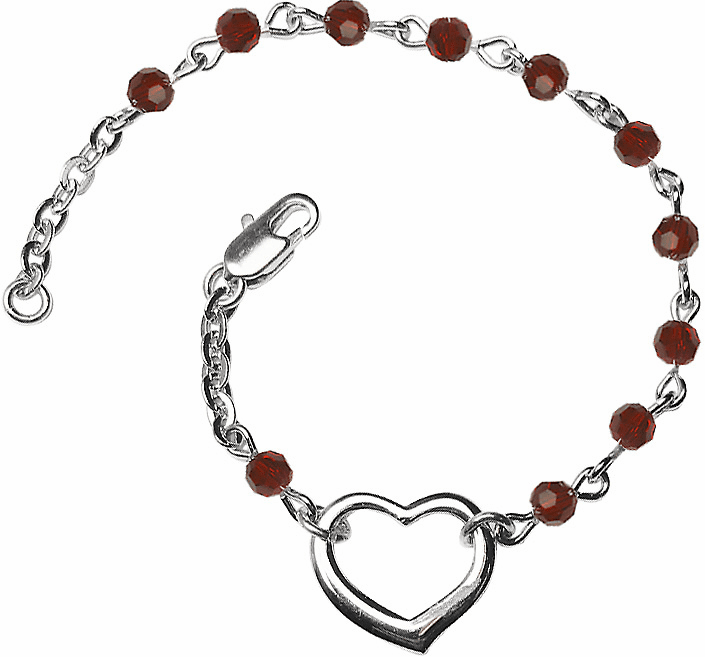 Birthstone January Garnet Beads w/Silver-plated Heart Bracelet by Bliss Mfg