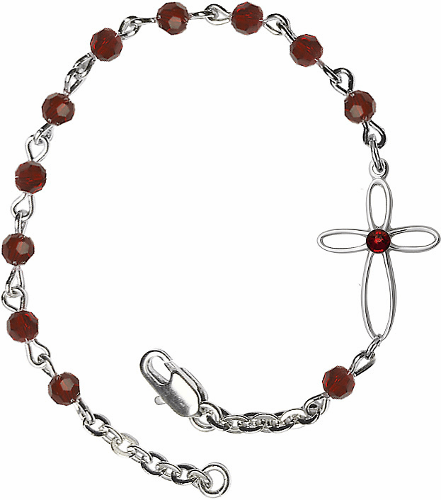 Birthstone January Garnet Beads w/Silver-plated Loop Cross Bracelet by Bliss Mfg