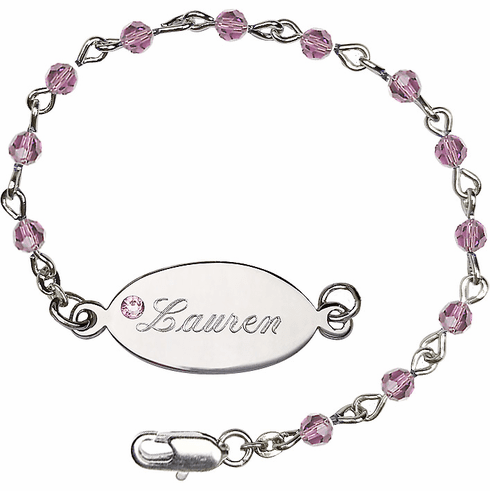 Birthstone June Lt Amethyst  Beads w/Silver-plated Engravable ID Bracelet by Bliss Mfg