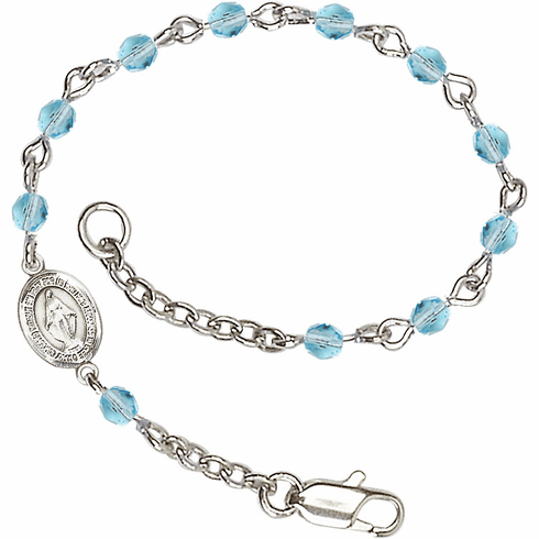 Birthstone March Aqua Beads w/Pewter Miraculous Medal Charm Bracelet by Bliss Mfg