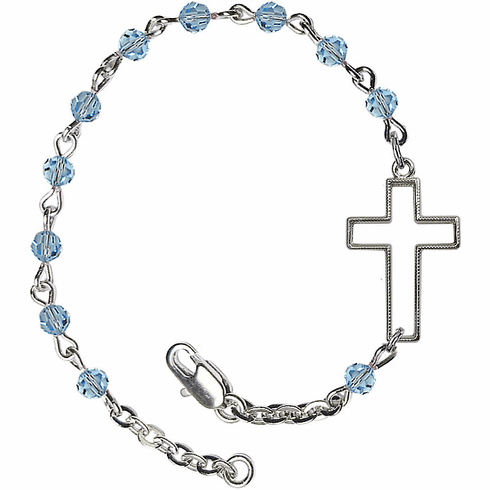 Birthstone March Aqua Beads w/Silver-plated Cross Bracelet by Bliss Mfg
