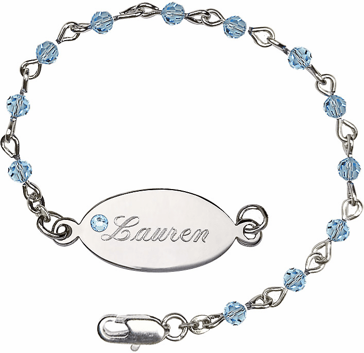 Birthstone March Aqua Beads w/Silver-plated Engravable ID Bracelet by Bliss Mfg