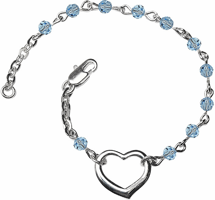 Birthstone March Aqua Beads w/Silver-plated Heart Bracelet by Bliss Mfg