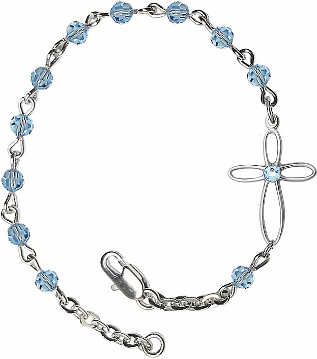 Birthstone March Aqua Beads w/Silver-plated Loop Cross Bracelet by Bliss Mfg