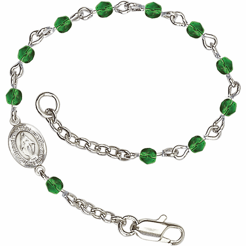 Birthstone May Emerald Beads w/Pewter Miraculous Medal Charm Bracelet by Bliss Mfg