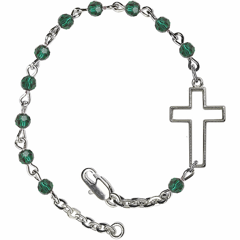 Birthstone May Emerald Beads w/Silver-plated Cross Bracelet by Bliss Mfg