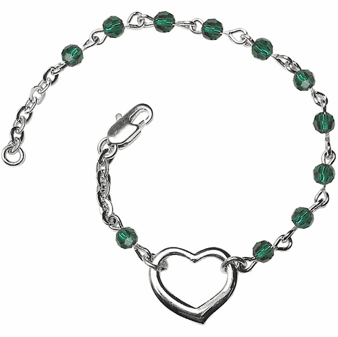 Birthstone May Emerald Beads w/Silver-plated Heart Bracelet by Bliss Mfg