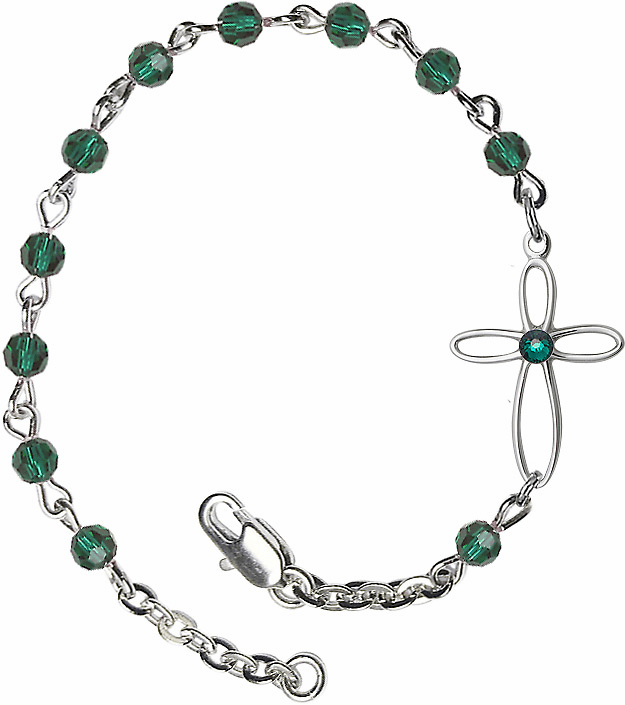 Birthstone May Emerald Beads w/Silver-plated Loop Cross Bracelet by Bliss Mfg