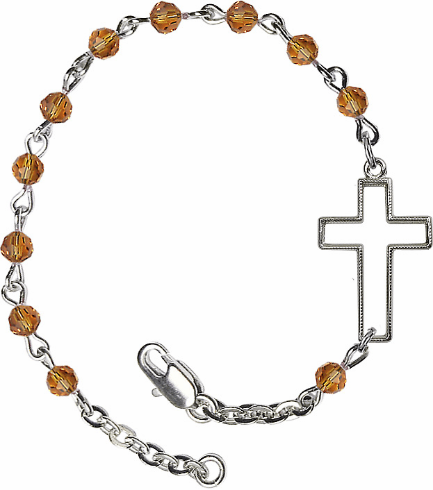 Birthstone November Topaz Beads w/Silver-plated Cross Bracelet by Bliss Mfg