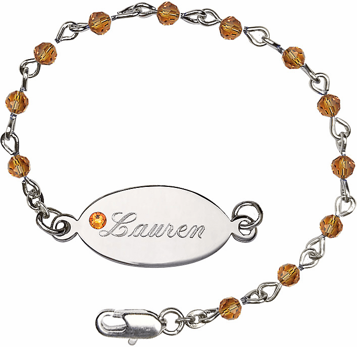Birthstone November Topaz Beads w/Silver-plated Engravable ID Bracelet by Bliss Mfg