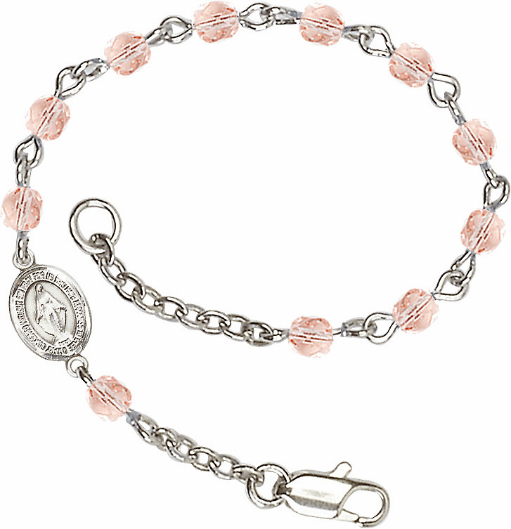 Birthstone October Rose Beads w/Pewter Miraculous Medal Charm Bracelet by Bliss Mfg