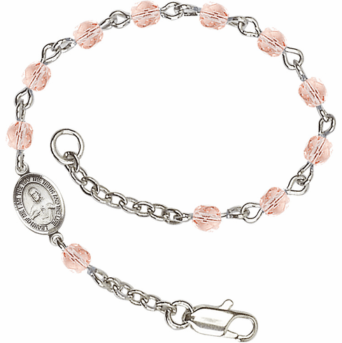 Birthstone October Rose Beads w/Pewter Sacred Heart Scapular Charm Bracelet by Bliss Mfg