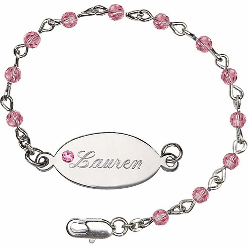Birthstone October Rose Beads w/Silver-plated Engravable ID Bracelet by Bliss Mfg