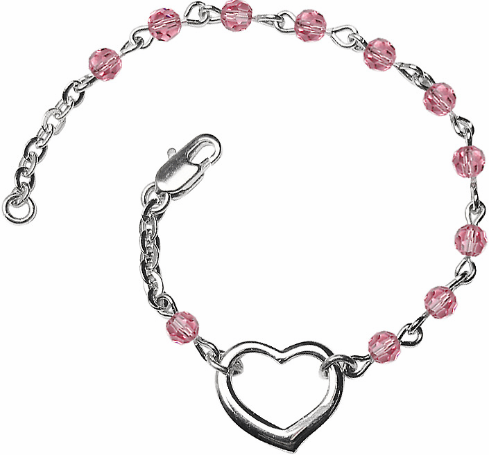 Birthstone October Rose Beads w/Silver-plated Heart Bracelet by Bliss Mfg