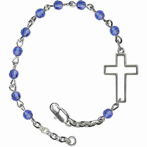 Birthstone September Sapphire Beads w/Silver-plated Cross Bracelet by Bliss Mfg