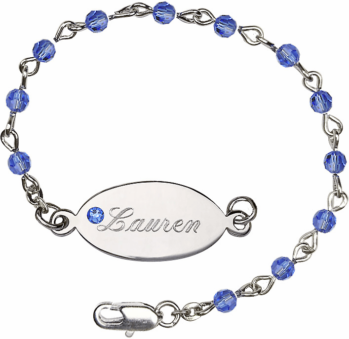 Birthstone September Sapphire Beads w/Silver-plated Engravable ID Bracelet by Bliss Mfg