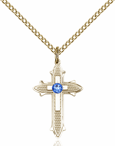 Bliss Birthstone Sep-Sapphire Double Detailed 14kt Gold-filled Cross Necklace