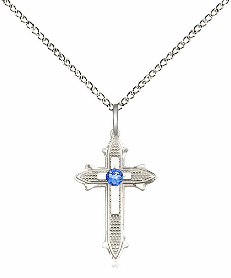 Bliss Birthstone Sep-Sapphire Double Detailed Cross Necklace