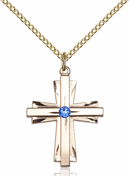 Birthstone September Sapphire Double Etched 14kt Gold-filled Cross Necklace by Bliss